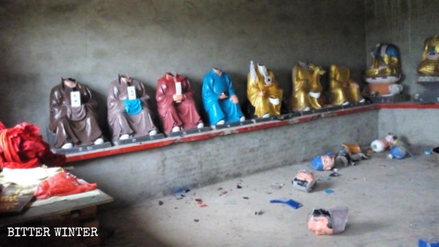 東林村古佛寺被毀壞的佛像