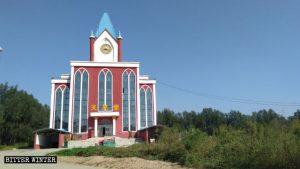 陸集村教堂十字架被拆後正面照