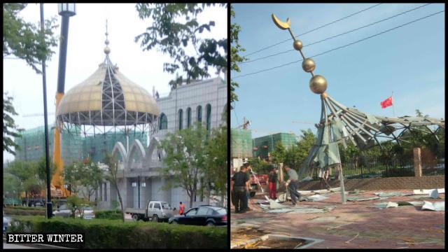 清真寺頂的伊斯蘭標誌被拆