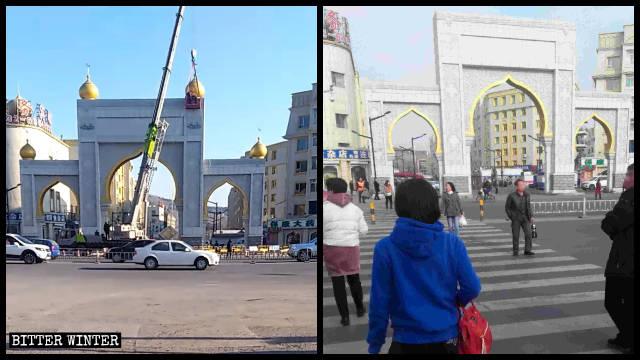 清真美食街大門上的伊斯蘭風格標誌被拆