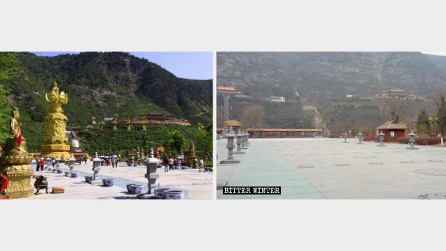 消災寺廣場滴水觀音像、十二生肖觀音像被拆除後(左為網絡圖片,右為記者拍攝)