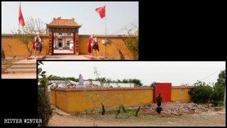 「毛主席佛祖殿」被拆毀前後對比圖