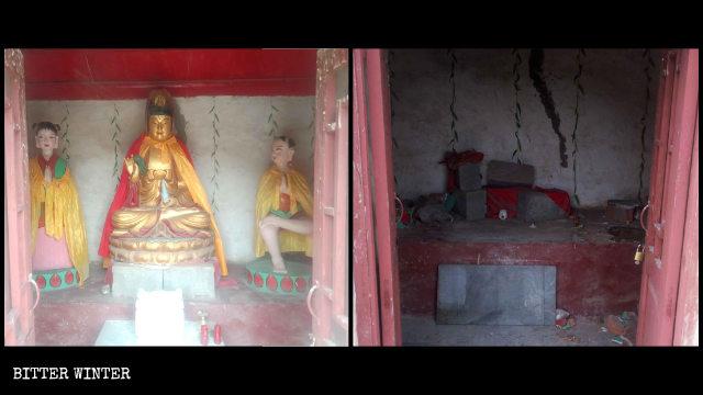聖泉寺內觀音像被拆前後