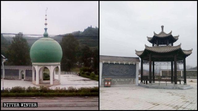 原東關穆斯林廣場圓頂建築被改成中式涼亭