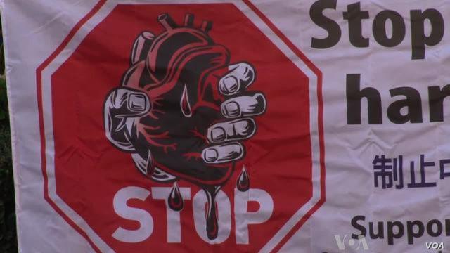 呼籲停止強摘器官暴行的條幅(VOA)