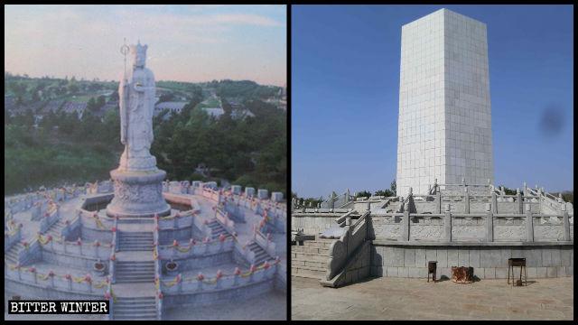 地藏菩薩像現被大理石包圍