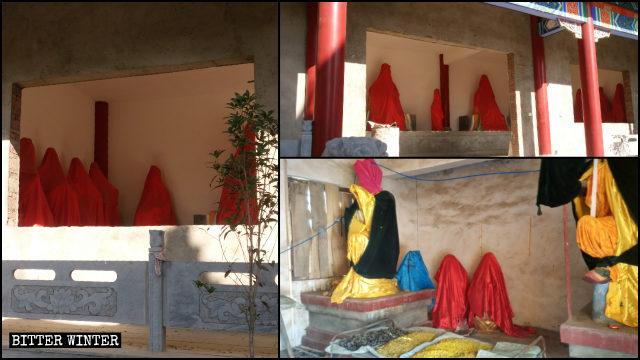 寺廟裡的佛像也被遮蓋起來