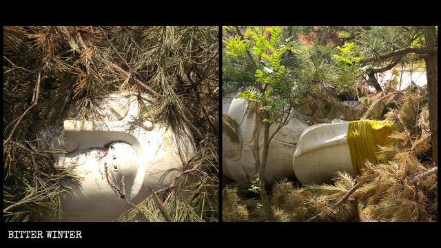 被拆除後的菩薩像被樹枝蓋住