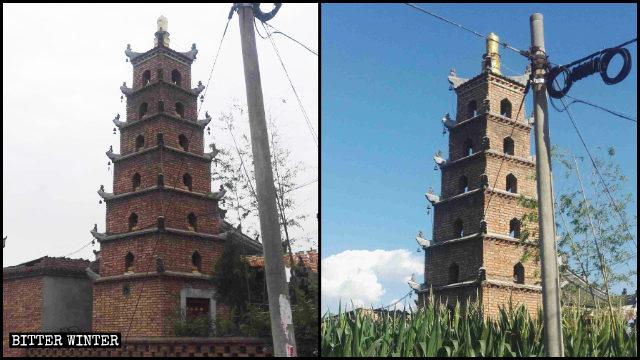 「靈應寺」佛塔內的佛像被移除前後