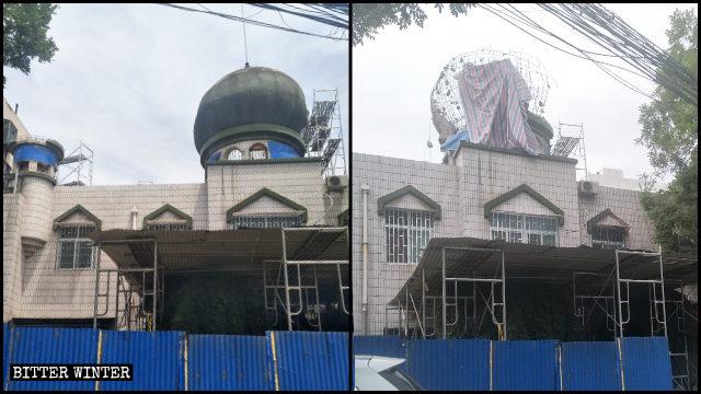 少數民族運動會前,兌周村清真寺圓頂被強拆