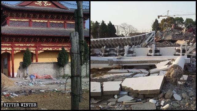 大殿被拆前後對比圖