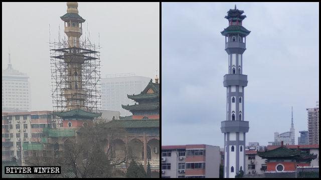 宣禮塔被中國化改造前後對比圖