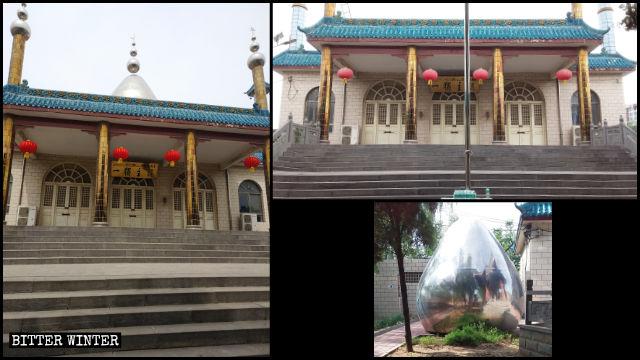 新密市岳村鎮的清真寺圓頂和新月標誌被拆