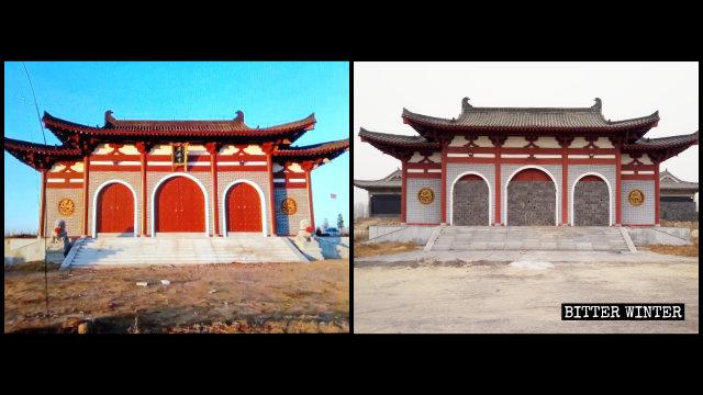 拿馬寺主殿被封,石獅子被埋(左為知情人提供,右為記者拍攝)