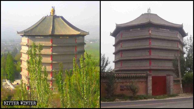 海會塔頂的「三面佛」被拆前後對比圖