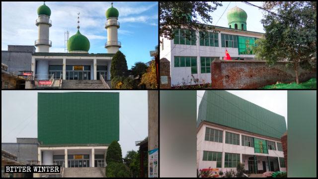 清真寺的圓頂以及新月標誌被封蓋