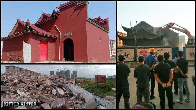 南豐縣一福主廟被拆前後(左二圖為記者拍攝,右圖為知情人提供)