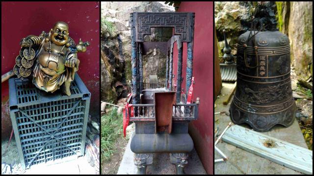 紫雲觀神像、香爐、大鐘被丟棄在屋簷下(知情人提供)
