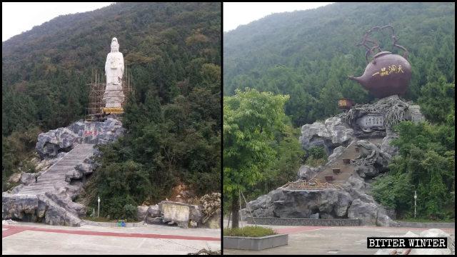 景區防拆竟鑄茶壺雕塑補位被拆觀音像 多地墓園佛像再遭拆