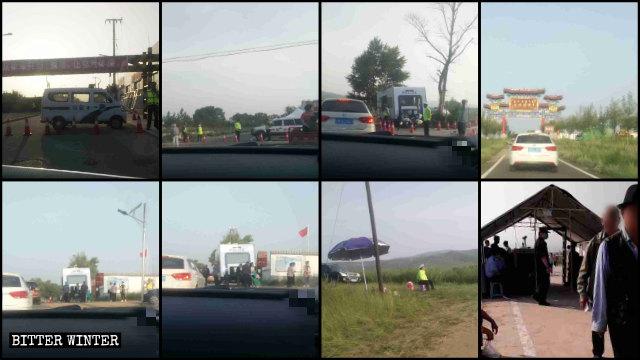 通往磨子山朝聖地的沿途警察設置多個關卡