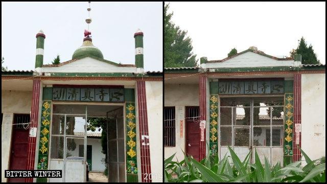 遂平縣一清真寺的新月標誌和圓頂被強拆