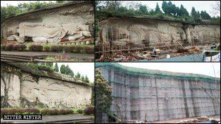 中共巨資封蓋熱門景區佛像 世界最長石刻藝術像攜百餘佛像消失