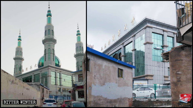 原州區九龍路清真寺伊斯蘭標誌被拆除前後