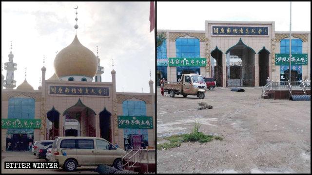 固原市原州區南坊清真大寺圓頂和新月拆除前後