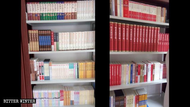 一基督教堂圖書室內習近平的書擺在顯眼位置