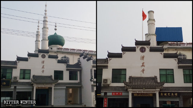 河南焦作市博愛縣一清真寺頂伊斯蘭標誌被國旗取代