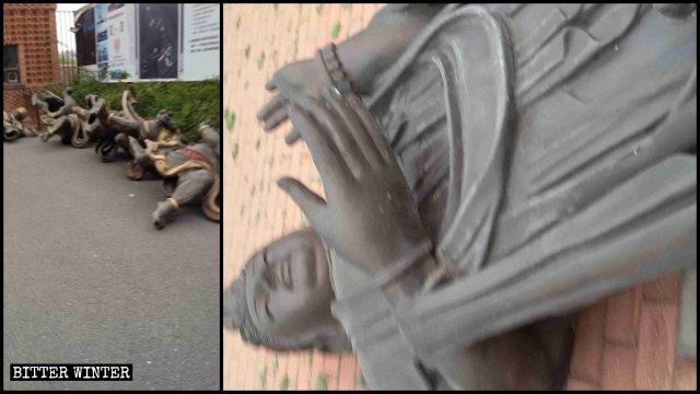 被放倒的佛像