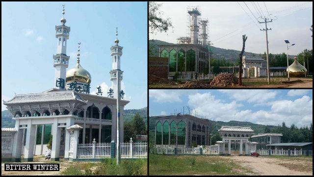 團咀清真老寺頂部的伊斯蘭建築被拆除