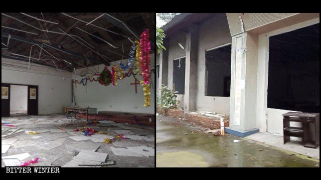 生命河家園教會聚會點天花板、窗戶被拆毀