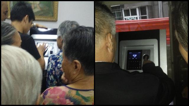 一處教堂的老年信徒排隊錄指紋(知情人提供)
