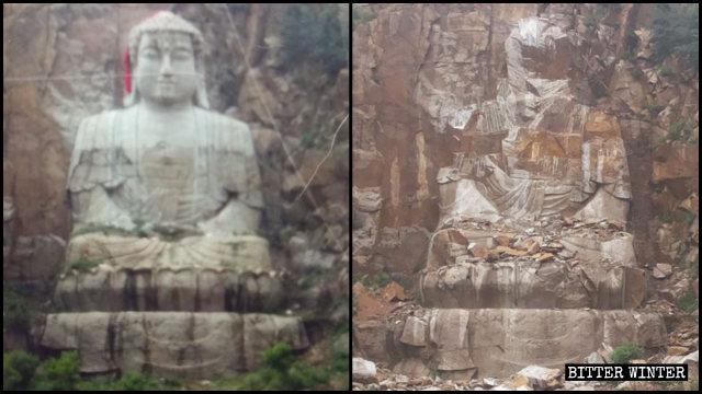 釋迦牟尼石雕刻被炸毀前後(左為知情人提供,右為記者拍攝)