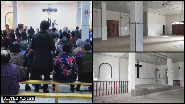 教堂內物品被清空前後對比圖