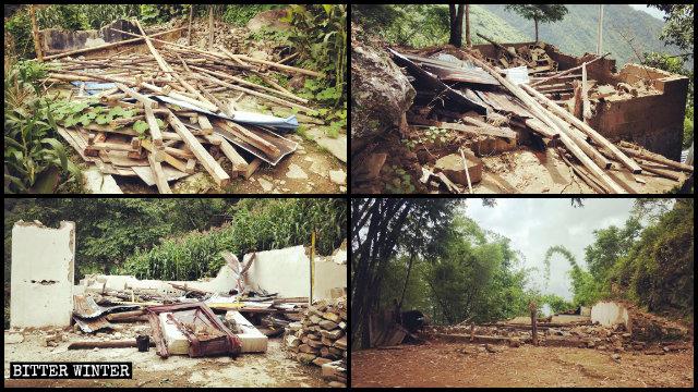 四個聚會點被拆成廢墟