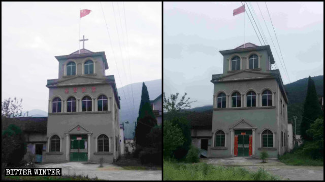 教堂的十字架、「基督教堂」的字被拆前後