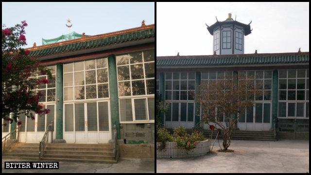 清真女寺頂部的圓形穹頂被中式八角亭取代