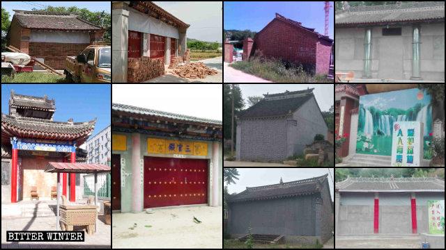 寶雞市大量寺廟被磚塊封堵