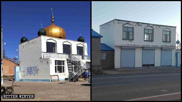 內蒙古錫林浩特市一座清真寺的穹頂及星月標誌被拆