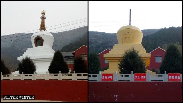 今年8月聖泉寺佛塔塔身被塗成黃色,金色塔尖被拆掉