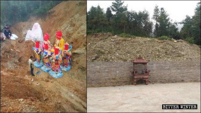 旅遊景點內的佛像被掩埋在一座小山裡(左為知情人提供,右為記者拍攝)