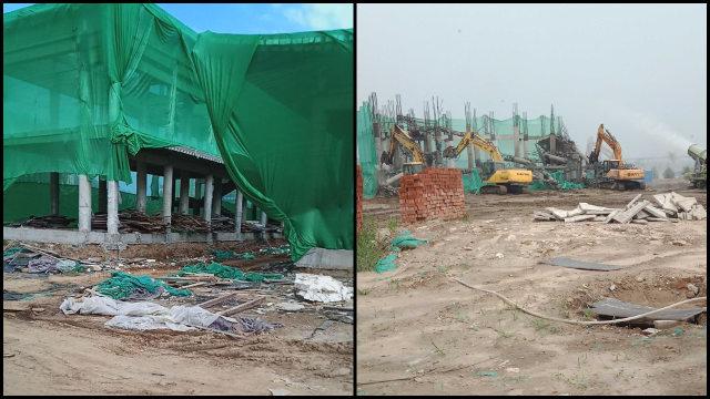 尚未竣工的隆福禪院建築遭強拆(知情人提供)