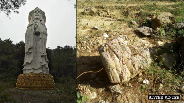 21米的露天男相觀音像被拆毀(左為知情人提供,右為記者拍攝)