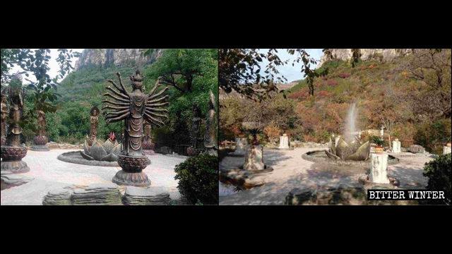 8尊十二生肖本命佛像被強拆(左為知情人提供,右為記者拍攝)