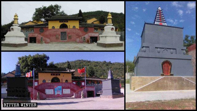 金頂寺兩座藏式白塔被塗成「灰塔」