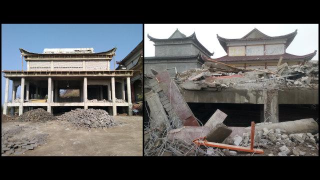 靈鷲寺一座在建的佛殿被強拆(知情人提供)