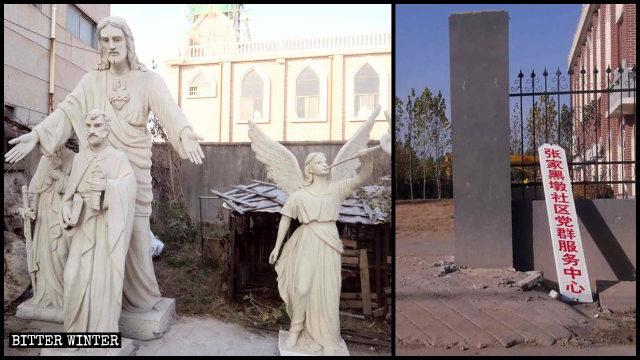 天主教堂耶穌像、天使雕像均被拆除,教堂被改成「黨群服務中心」