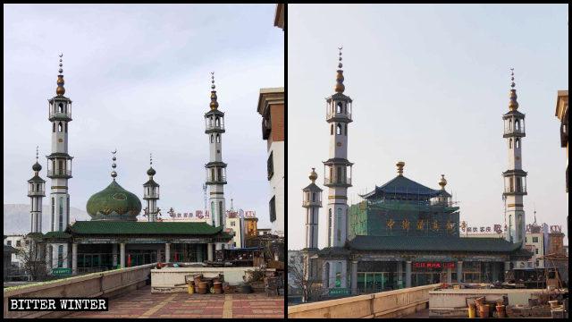 寧夏石嘴山市中街清真大寺圓頂被改為中式建築